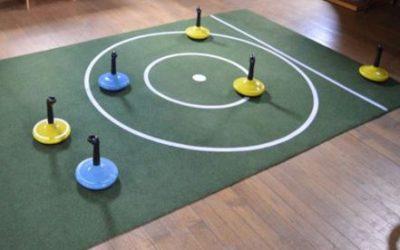 Indoor Curling op een gladde mat